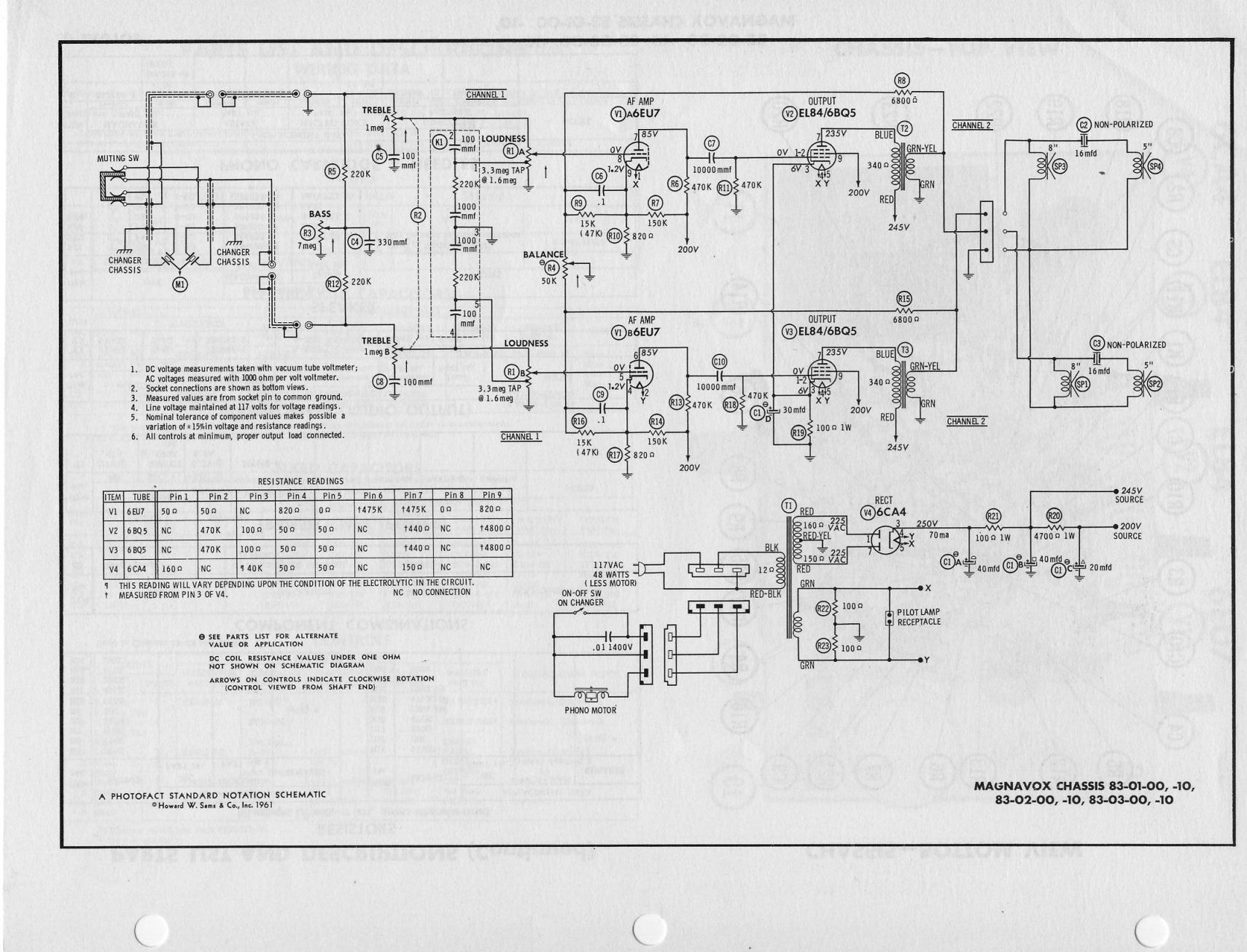 Here's the Sam's schematic of the 6EU7 input with a 6CA4